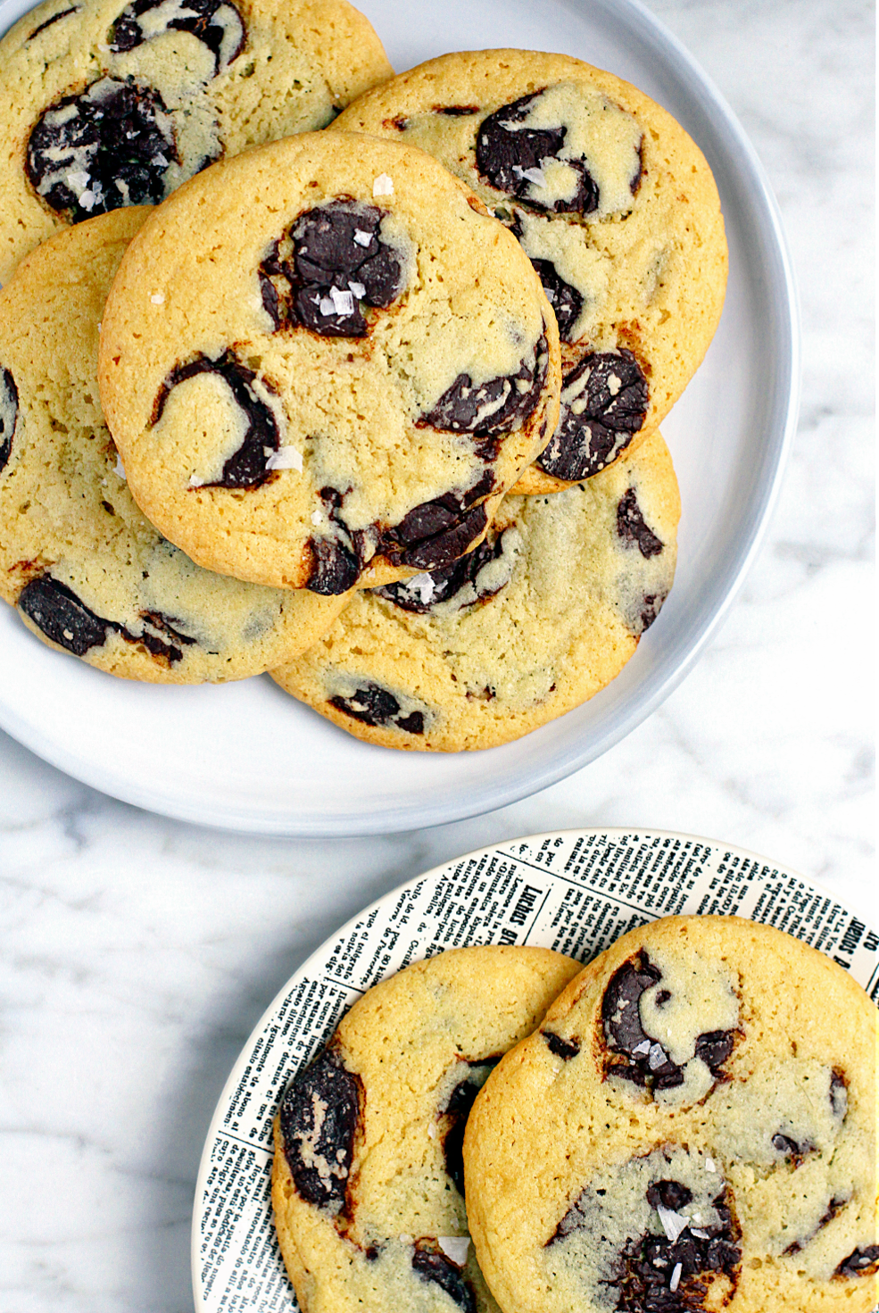 Image of soft and chewy salted tahini chocolate chip cookies.
