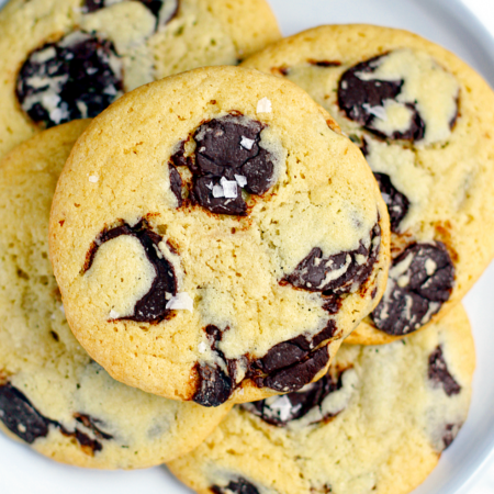 Soft and Chewy Salted Tahini Chocolate Chip Cookies_close